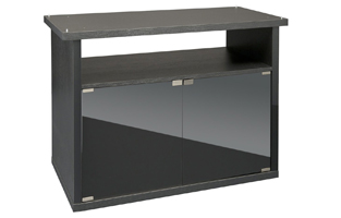 black vivarium cabinet with two glass doors