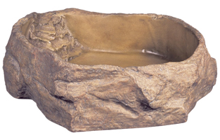 snake water dish that looks like a stone rock